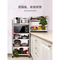 厨房置物架不锈钢置物架落地多层厨房用品具微波炉烤箱收纳储物架子锅架ik0