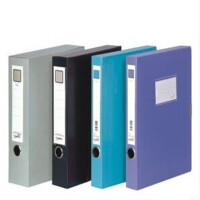 齐心HC-35 加厚型PP档案盒A4 35mm文件盒 颜色随机