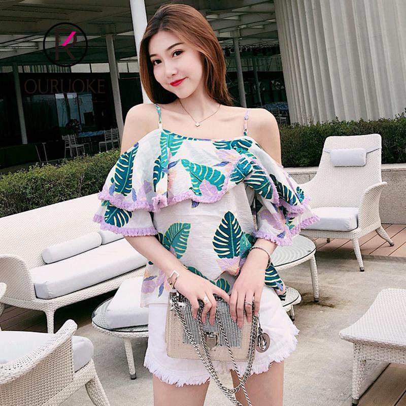 欧若珂 2018夏季韩版一字肩荷叶边上衣一字领吊带雪纺衫女