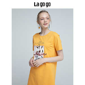 【清仓3折价89.7】Lagogo/拉谷谷2019年夏季新款时尚小清新印花连衣裙HALL315A53