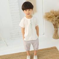 男童夏季薄款汉服宝宝中国风演出服婴幼儿棉麻短袖两件套装男小童