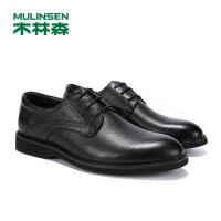 木林森男鞋2019春季商务休闲鞋系带真皮皮鞋子SS97119