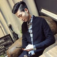 2018新款发型师男士针织毛衣开衫外套潮男秋冬新款翻领中长款披风上衣男装