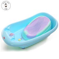 婴儿洗澡盆新生儿用品宝宝感温浴盆可坐躺通用大号加厚儿童沐浴桶BJX 蓝硅胶浴床+
