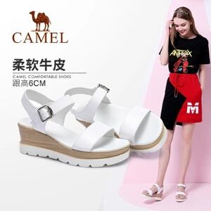 骆驼女鞋 坡跟凉鞋2018夏季新品 时尚复古真皮舒适休闲坡跟凉鞋女