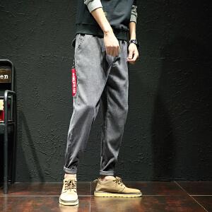 2018春季新款灯芯绒裤织带大码休闲裤长裤九分裤哈伦裤 K04303ASJX