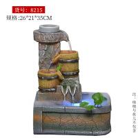 创意礼品时来运转假山流水喷泉加湿器风水轮家居室内盆景招财摆件