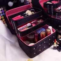 韩国化妆包女双层大容量便携旅行收纳手提化妆箱护肤品纹绣化妆盒 黑色 带钻三层