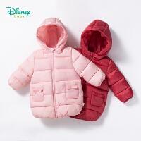 迪士尼Disney童装 儿童棉衣秋冬新品保暖中长款外套女宝宝纯色带帽外出防风上衣184S977