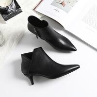 秋冬新款黑色裸靴女高跟v口尖头细跟短筒加绒中跟及踝靴短靴子 典雅黑 (5cm)