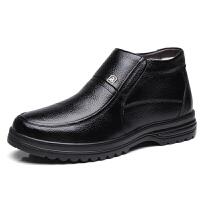 爸爸棉鞋男冬季保暖加绒真皮加厚老人一脚蹬中老年防滑高帮棉皮鞋