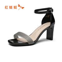 红蜻蜓夏季新款时尚一字带真皮高跟酒杯跟优雅仙女风凉鞋断码清仓