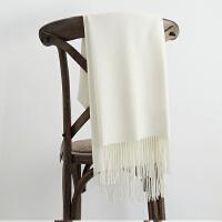 冬季欧美纯色羊绒长款围巾女加厚保暖围脖百搭两用披肩