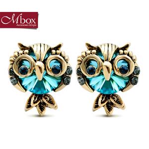 新年礼物Mbox耳钉 女日韩版采用施华洛世奇元素水晶个性耳坠 可爱耳环耳饰