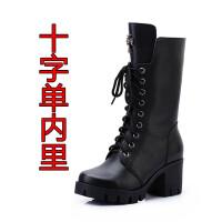 马丁靴女英伦风冬秋季真皮粗跟中筒单靴冬款高跟系带雪地棉短靴潮