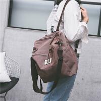 复古双肩包女简约多用单肩包水洗帆布背包学院风韩版纯色学生书包