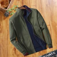 双面穿中年男士夹克春秋季纯棉爸爸装宽松立领薄款外套男装工作服 军绿色 019