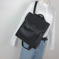 复古英伦双肩包女韩版简约百搭多用中学生书包女pu皮森系定型背包