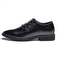 尖头皮鞋男士韩版英伦黑色小皮鞋青年商务休闲皮鞋潮流发型师男鞋 黑色