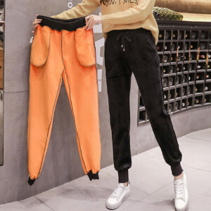 冬季新款金丝绒保暖运动裤女加绒加厚休闲裤哈伦长裤小脚卫裤