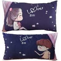 创意情侣枕头一对浪漫可爱个性卧室人物卡通简漫学生单人枕头套 粉色窗帘 一对单人枕
