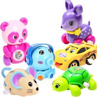 婴儿上链发条玩具趣味上弦学爬行小玩具男孩女孩卡通动物发条玩具 熊猫+鼠+章鱼+龟+吐舌车+*