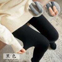 秋冬季打底裤女深灰色保暖连脚裤袜加厚加绒款踩脚螺纹女竖条纹棉