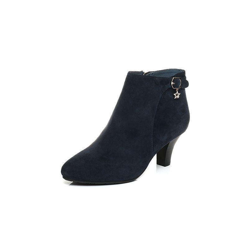 女鞋 靴子 森达靴子 senda/森达冬季专柜同款时尚优雅气质舒适女短靴图片