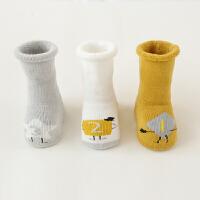 婴儿袜子春秋季冬中筒0-6-12个月松口无骨新生儿宝宝袜1-3岁 3双装 点胶厚款123男宝