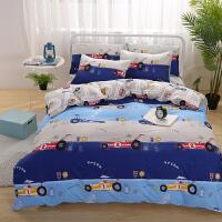 ???卡通床上用品四件套全棉纯棉儿童床品1.5m床单被套三件套男孩女孩