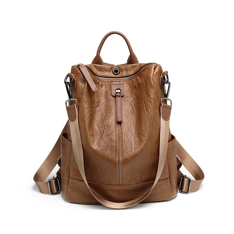 多功能双肩包女2018韩版时尚软皮背包复古女包休闲旅行包 发货周期:一般在付款后2-90天左右发货,具体发货时间请以与客服协商的时间为准