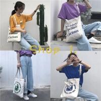 韩国简约字母港风ins帆布袋女斜挎包大chic购物袋单肩学生帆布包