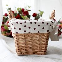 创意装饰品田园客厅摆件藤编花器收纳篮 柳编小花篮