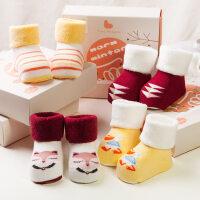 婴儿袜子新生儿秋冬男女宝宝袜子0-2-4岁儿童袜子中筒袜子礼盒4双