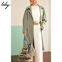 【25折到手价:374.75元】 Lily春新款女装优雅单排扣H型过膝长款宽松风衣119120C1210
