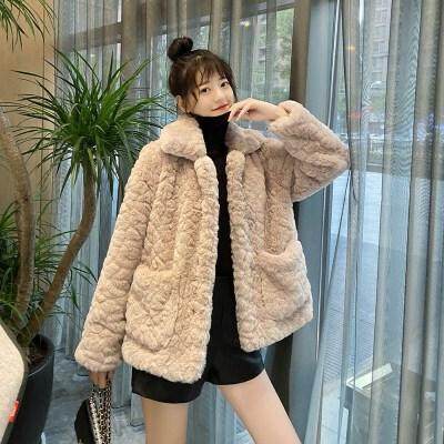 羊羔毛外套女短款2020冬新款韩版仿獭兔毛皮草网红宽松毛绒绒大衣