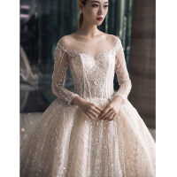 长袖主婚纱礼服新娘2018新款冬季星空重工水晶齐地一字肩长拖尾女