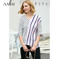 Amii极简韩版chic设计感衬衫女2019夏季新款撞色条纹拼接V领上衣