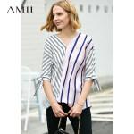 【预估价108元】Amii极简韩版chic设计感衬衫女2019夏季新款撞色条纹拼接V领上衣