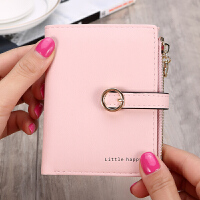 短款钱包女士零钱包时尚个性卡包迷你大容量手拿包韩版 粉红色