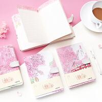 花见磁扣精装本日式和风唯美樱花猫咪手账本彩页笔记本