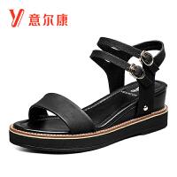 【限时价89】意尔康女鞋夏季磨砂皮质坡跟一字扣带女凉鞋