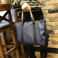 韩版公文包男包手提包牛津布尼龙单肩斜跨包商务防水耐磨休闲背包 蓝色 满2件送手包