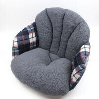 毛绒坐垫椅垫加厚办公室美臀坐垫护腰靠垫一体冬榻榻米学生保暖座 蓝灰色 二代加厚版 58*39*39cm