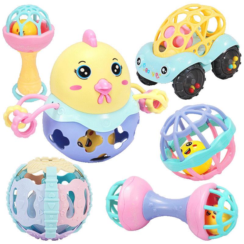 婴儿摇铃牙胶手摇铃新生儿玩具0-3-6-12个月宝宝0-1岁手抓球 趣萌摇铃手抓球【6件套】