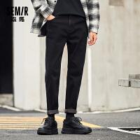 森马牛仔长裤男2020冬新款时尚潮宽松显瘦显高火山岩加绒保暖裤子
