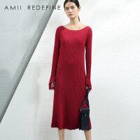 [AMII东方极简] JII[东方极简]2016冬季女装修身中长裙一字领大码长袖连衣裙女
