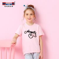 【每满100减50】铅笔俱乐部童装女童短袖T恤2018夏季新款儿童上衣中大童印花体恤