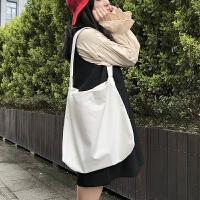 日系韩版学院风学生帆布单肩背包 ins简约纯色休闲百搭购物袋布包