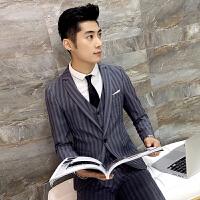 施衣品西装男2017秋冬 修身版型条纹男士韩版休闲西服西装男外套XZ50